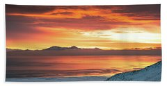 Beach Towel featuring the photograph Antelope Island Sunset by Bryan Carter