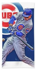 Anthony Rizzo Chicago Cubs Oil Art Beach Towel