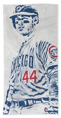 Anthony Rizzo Chicago Cubs Pixel Art Beach Towel
