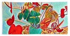 Anthurium Bouquet Of The Day - Multiple Color Beach Towel
