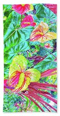 Anthuriums Pink And Turquoise Beach Towel