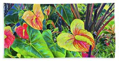 Anthuriums Yellow And Red Beach Towel