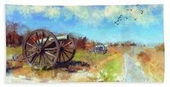 Beach Towel featuring the digital art Antietam Under Blue Skies  by Lois Bryan