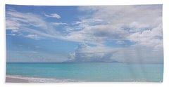 Antigua Beach View Of Montserrat Volcano Beach Sheet