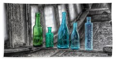 Antique Blue Green Glass Bottle Collection Baltimore - Maryland Glass Corporation Beach Towel