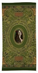 Antique Book Cover With Cameo - Green And Gold Beach Towel by Peggy Collins