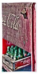 Antique Coca Cola Coke Refrigerator Beach Towel