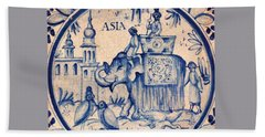 Continental Romantic Blue And White Ceramic Tile Depicting An Asian Elephant With Mahouts And Birds Beach Towel