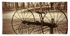 Antique Farm Rake In Sepia Beach Towel