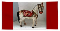 Antique Folk Art Horse Beach Towel