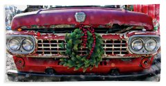 Antique Ford Christmas Beach Towel
