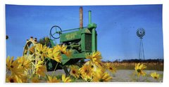 Antique John Deere Beach Towel by Lori Deiter