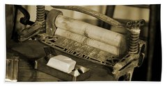 Antique Laundry Ringer And Handmade Lye Soap In Sepia Beach Towel