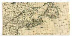 Antique Map Of Eastern Canada Beach Towel