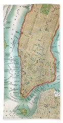 Antique Map Of Lower Manhattan And Central Park Beach Towel