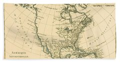 Antique Map Of North America Beach Towel
