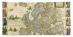 Antique Maps Of The World Map Of Europe Willem Blaeu C 1650 Beach Towel