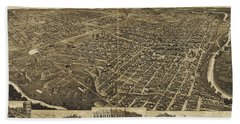 Antique Maps - Old Cartographic Maps - Antique Birds Eye View Map Of Fort Worth, Texas, 1886 Beach Towel