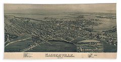 Antique Maps - Old Cartographic Maps - Antique Birds Eye View Map Of Gainesville, Texas, 1891 Beach Towel