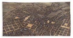 Antique Maps - Old Cartographic Maps - Antique Birds Eye View Map Of San Antonio, Texas, 1873 Beach Towel