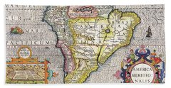 Antique Maps - Old Cartographic Maps - Antique Map Of South America, 1630 Beach Towel