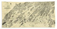 Antique Maps - Old Cartographic Maps - Antique Map Of Casco Bay, Maine, 1870 Beach Towel