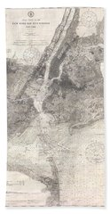 Antique Maps - Old Cartographic Maps - Antique Map Of New York Bay And Harbor, 1910 Beach Towel