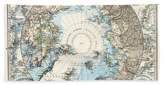 Antique Maps - Old Cartographic Maps - Antique Map Of The North Pole And The Arctic Region Beach Towel