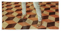 Beach Towel featuring the photograph Antique Optical Illusion Floor Tiles by Patricia Hofmeester