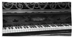 Antique Piano Black And White Beach Towel