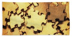 Antique Puzzle Of Missing Links Beach Towel
