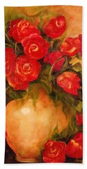 Antique Red Roses Beach Towel
