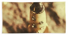 Antique Rocket Ship On Faded Asteroid Beach Towel