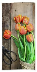 Beach Towel featuring the photograph Antique Scissors And Bouguet Of Tulips by Stephanie Frey
