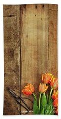 Antique Scissors And Tulips Beach Sheet