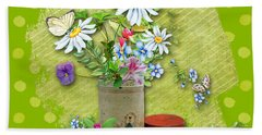 Antique Tin Of Flowers Beach Sheet by Larry Bishop