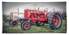 Antique Tractor Pullers Beach Towel by Marion Johnson