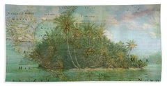Beach Towel featuring the photograph Antique Vintage Map Of North America Tropical Ocean by Debra and Dave Vanderlaan