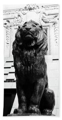 Antoine Louis Barye Seated Lion Sculpture Orsay Museum Paris France Black And White Beach Towel