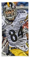 Antonio Brown Steelers Art Beach Sheet by Joe Hamilton