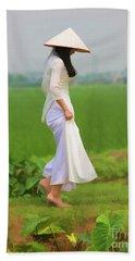 Ao Dai Woman Vietnamese Woman Beach Sheet