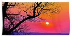 Appalcahian Sunset Tree Silhouette  #1 Beach Sheet