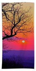 Appalcahian Sunset Tree Silhouette #2 Beach Towel