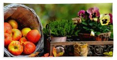Apple Basket And Other Objects Still Life L B  Beach Towel
