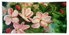 Apple Blossoms  Beach Sheet by Alan Lakin