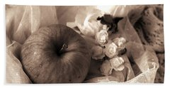 Apple In Sepia Beach Towel by Rachel Mirror