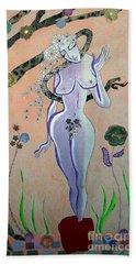 Apple, Snake, Woman -- Eve In Garden Of Eden, #4 In Famous Flirts Series Beach Sheet