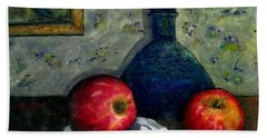 Apples And Bottles Beach Towel by Gail Kirtz