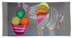 Apples And Oranges And Elephants, Oh My -- Whimsical Still Life W/ Elephant Beach Sheet
