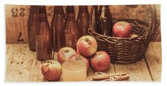 Apples Cider By Wicker Basket On Wooden Table Beach Towel
